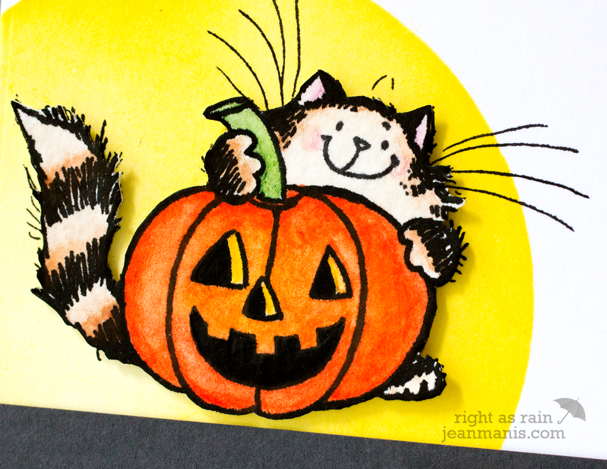 CAS Watercolored Halloween Cat + Pumpkin – Penny Black Simplicity