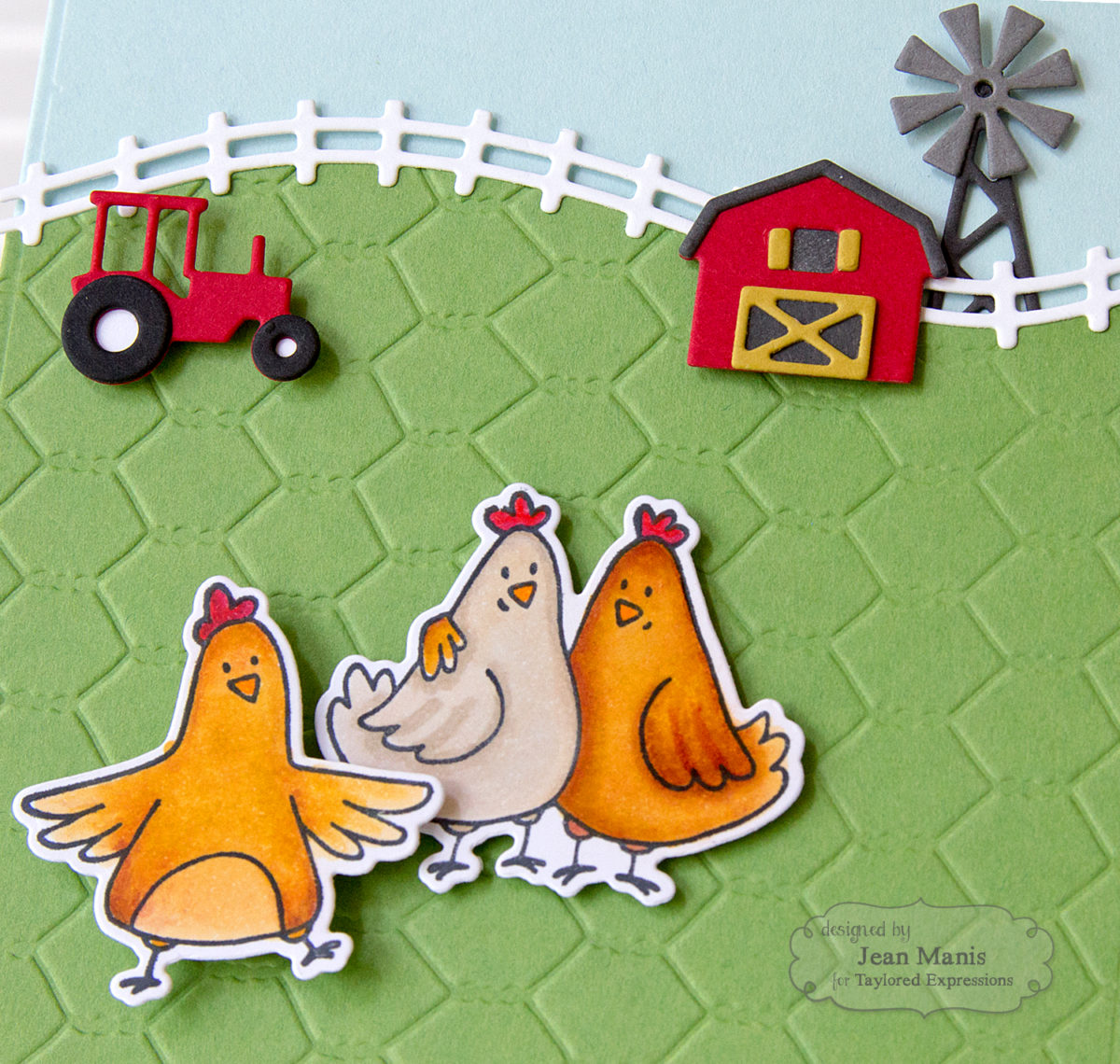 Taylored Expressions Farm Scene with Copic-colored Chickens