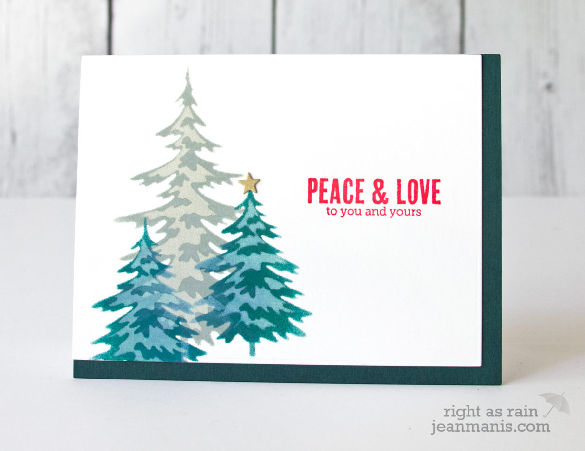 Merry Monday Challenge – Stenciled Snow-Covered Evergreen Trees