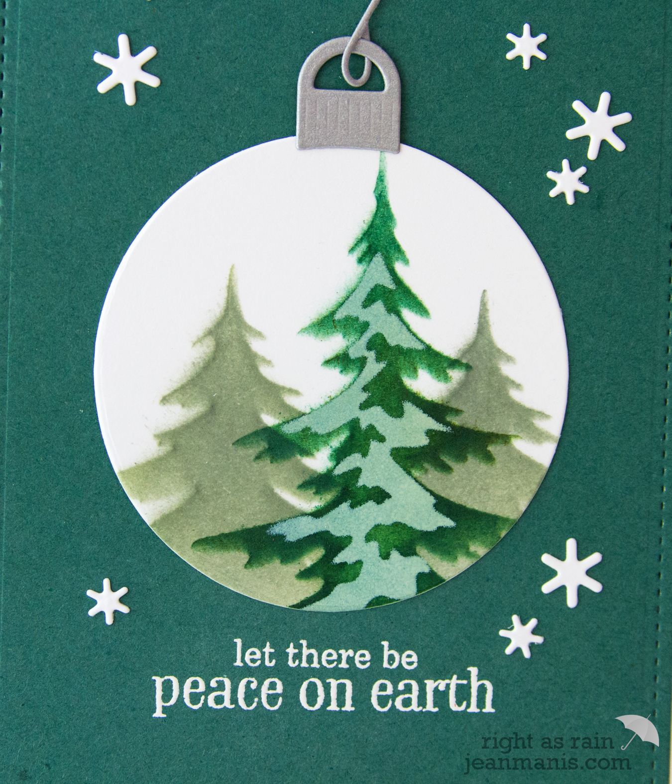 Stenciled Evergreen Ornament Scene