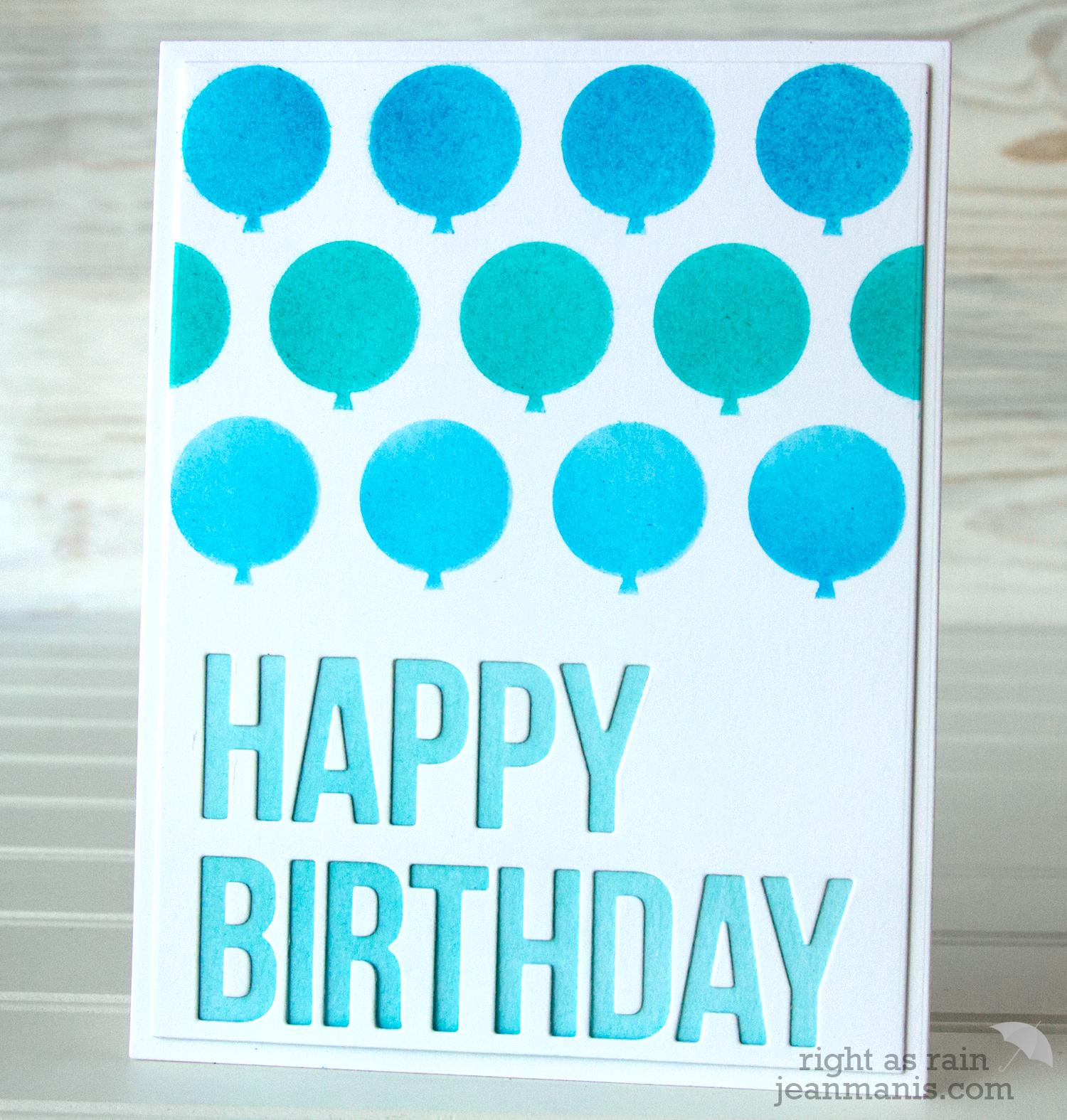 Happy Birthday Card - Echo Park Balloons Stencil